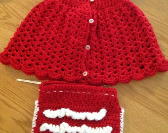 Crochet dress with matching diaper cover