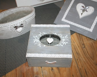 Gray and white hearts tea or jewelry box shabby chic