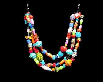 Collier femme, ethnique, perles, multicolore, 3 rangs, perles artisanales, verre Murano, papier