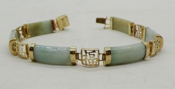 """Vintage Jade & 14kt Gold """"Fu"""" linked Bracelet"""