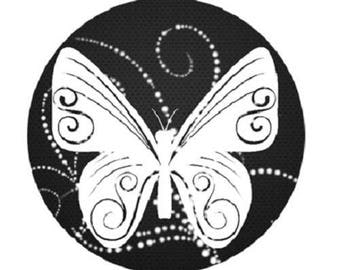 1 Butterfly in white on black 20mm