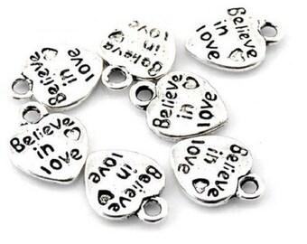 """believe in love"" 20 heart charms"