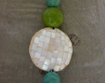 White mother of Pearl, turquoise blue and green bead pendant