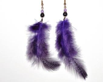 DESTASH - Earrings long purple feathers