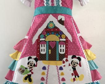 Mickey Minnie Christmas Gingerbread ruffle dress and blouse Ready to ship