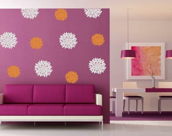 VINYL flower blossoms jumbo set of 6 wall decals