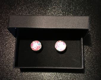 Pink Floral style Boxed Cufflink Set