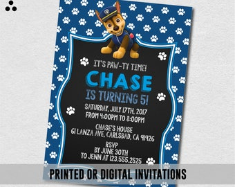 Chase Paw Patrol Invitation, Chase Paw Patrol Invite, Paw-ty Invite, Paw Patrol Birthday, Birthday, Physical Invite, Digital, 3DS-001