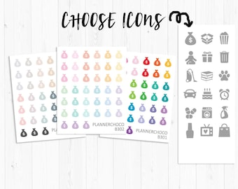Icon stickers/planner sticker/planner stickers / ECLP /EC vertical weekly kit/multicolor basic functional/rainbow pastel neutral