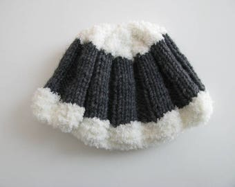 Gray and white wool hat size 3 months