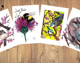 Pink Spring Greetings cards set of 4