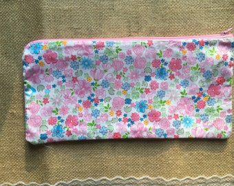 Pink flowered small zippered pouch