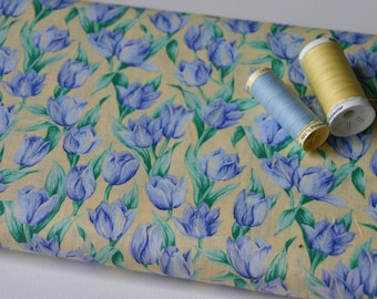 Blue green yellow tulips patchwork fabric