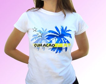Curacao white t shirt top short sleeves - Mens, Womens, Kids, Baby - All Sizes!