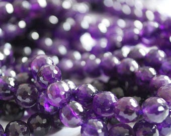 "High Quality Grade A Natural Amethyst Semi-precious Gemstone Faceted Round Beads - 6mm, 8mm, 10mm sizes - Approx 15"" strand"