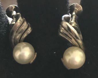 Vintage Mikimoto's Silver Screwback Pearl Earrings