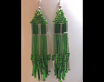 Emerald Green Silver Beaded Dangle Earrings