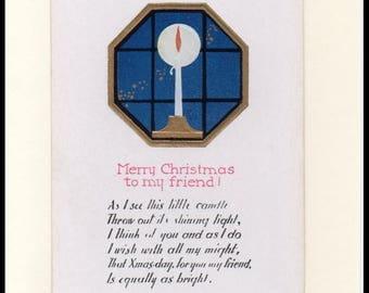 Art Deco Candle Christmas Vintage Greeting Card