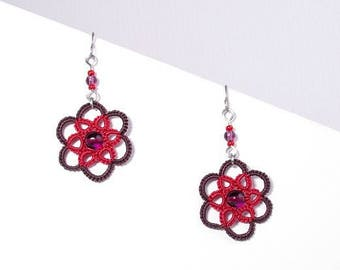 Small purple and Red Rose lace earrings