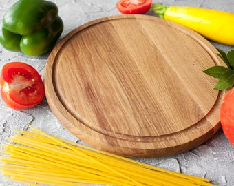 Cheese Board Round Cutting Board Oak Wood Pizza Peel