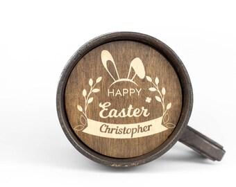 Wooden Beer Mug , Holz Bierkrug , Personalized Beer Mug , Wood Beer Gift , Easter Wooden Gift , Groom Beer Gift , Personalized Him Wood Gift
