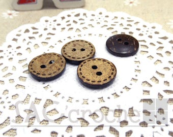 5 x buttons round light brown coconut wood 15cm