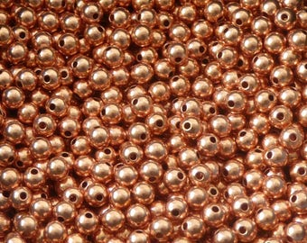50 pcs -3 mm copper beads - genuine copper beads - 3 mm beads - round seamless beads -pure copper findings