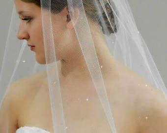 "34"" Hip Length Swarovski Crystals Scattered Wedding Veil with Raw/Cut Edge"