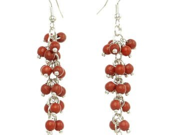 Earrings long dangling cluster small rusty orange red stones