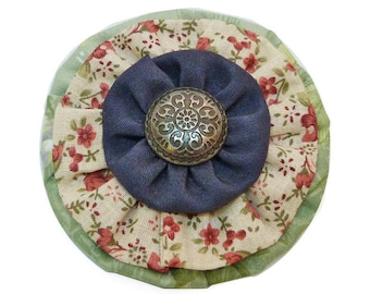 Clip type crocodile shape round retro cotton floral beige pink green blue jean