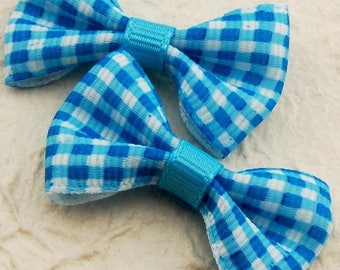5 small 40mm turquoise blue white gingham fabric bows grosgrain Ribbon
