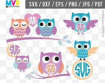 Owls SVG, Owl Monogram SVG, Love Owls Cut Files, Owls Vector Files, Owls Designs, Owls Cliparts, Files for Cricut and Silhouette, mvp-38
