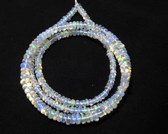"Natural Ethiopian welo opal smooth beads 2.5-4 M.M. 16"" strand/necklace, welo opal roundel beads necklace, fire opal beads strand :-AJ12"