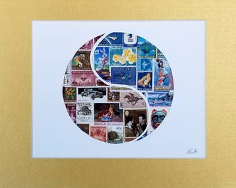 Postage Stamp Collage - Yin Yang Blue Brown