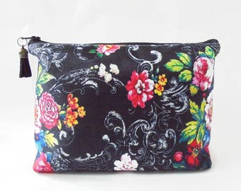 Gifts for her, Wash bag, Black Floral, travel bag, cosmetic bag, zip bag, make up bag.