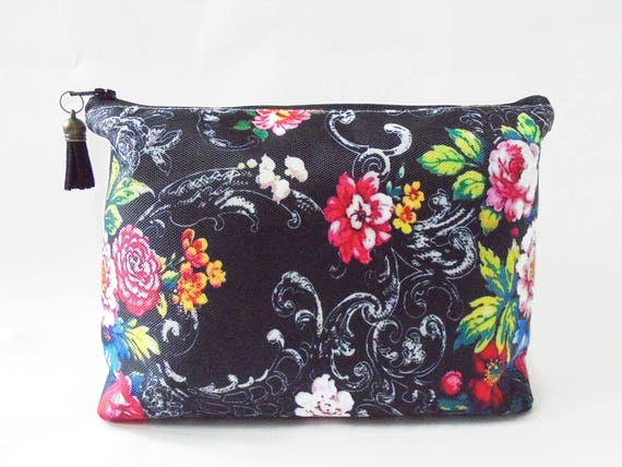 gifts for her wash bag black floral travel cosmetic zip make up 477cb7d921c44