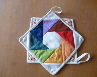 Potholders in the Colors of the Rainbow, Patchwork, Quilt