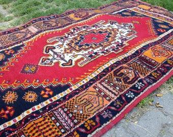 Vintage rug,Turkish rug, Handmade rug, Red rug, Area rug, Wool rug, Bohemian rug, Rug // FREE SHİPPİNG !! 216 cm x 107 cm = 7 ft x 3,5 ft