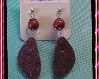 Pair of earrings, Burgundy polymer clay