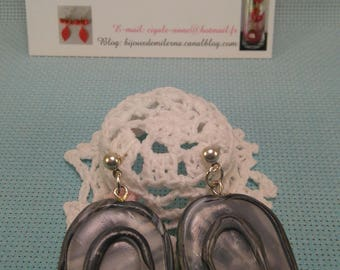 #69 # marbled polymer clay oval earrings