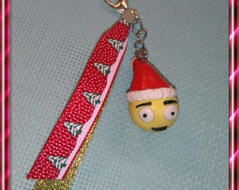 Smiley emoticon polymer clay and Ribbon keychain