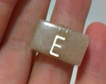 Letter E Blush coloured resin ring