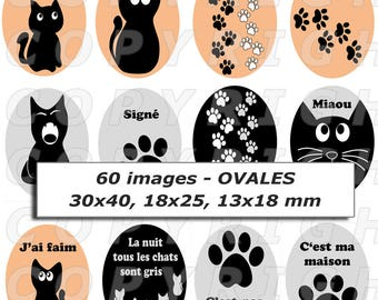 60 digital images for cabochon jewelry and special double earrings black grey beige cats theme - oval