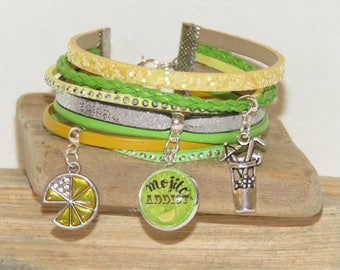 """Mojito addict"" Cuff Bracelet, leather and suede sequins, yellow, green and silver"