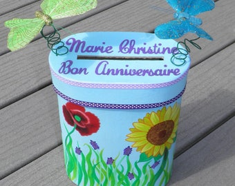 Birthday urn theme country Provence, provence, sky blue, purple, red, yellow colors, butterflies, customizable