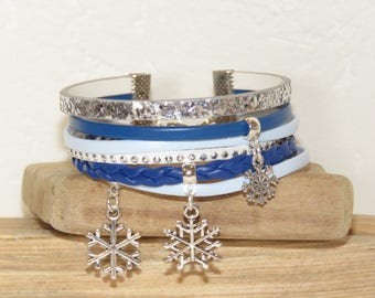 MULTISTRAND bracelet, cuff bracelet, blue, silver and blue paste bracelet leather bracelet, bracelet for winter, snowflakes bracelet