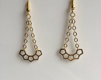 Earrings half moon gold polygon