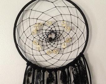 """Black and gold hamsa hand dreamcatcher (7"""" hoop)"""