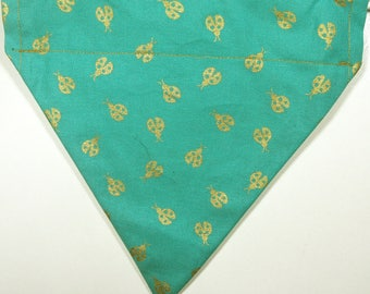 Reversible Teal with Gold Bugs / Gold Dot Bandana