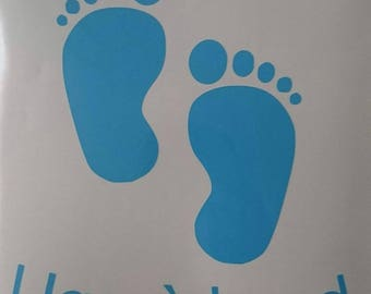 Name on board stickers little baby foot